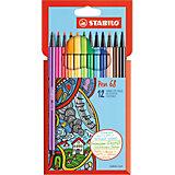 """Фломастеры Stabilo """"Pen"""", 12 цветов"""