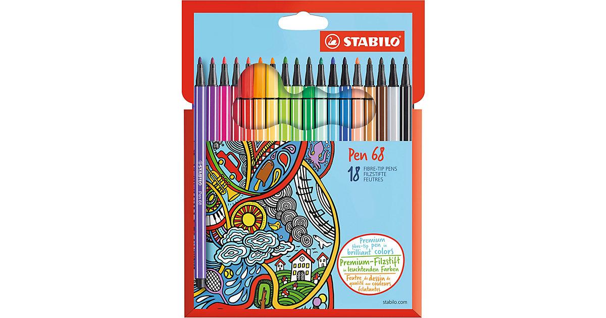 Filzstifte Pen 68, 18 Farben