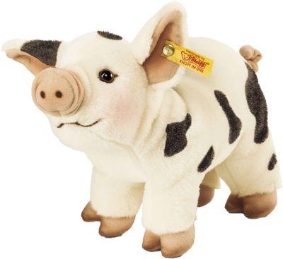 Roserl Minischwein weiß/schwarz stehend 26 cm
