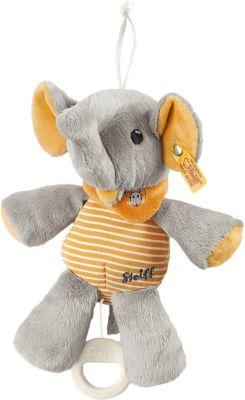 Steiff 240287 Trampili Elefant Spieluhr grau/orange 22 cm