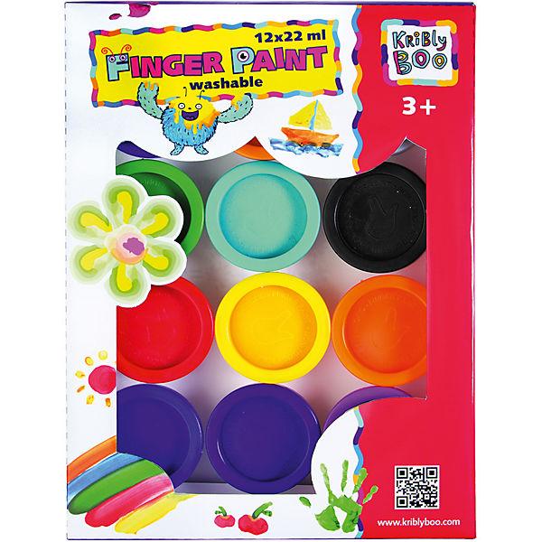 Пальчиковые краски Kribly Boo, 12 цветов