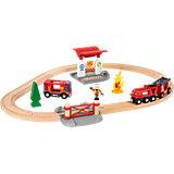 """Железная дорога BRIO  """"Пожарная станция"""" (свет,звук),18 предметов"""