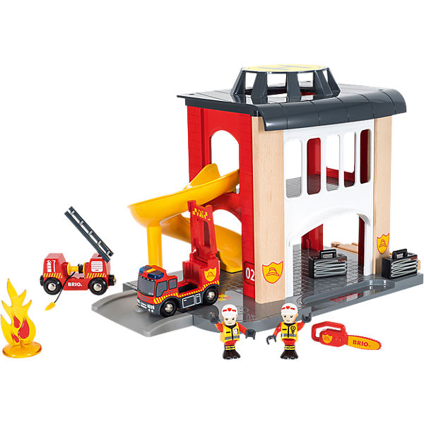Große Feuerwehrstation mit Einsatzfahrzeug, BRIO