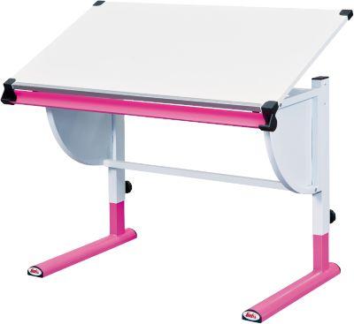 Kinderschreibtisch weiß  ABC Schreibtisch TITJE, höhenverstellbar, rosa/weiß, | myToys