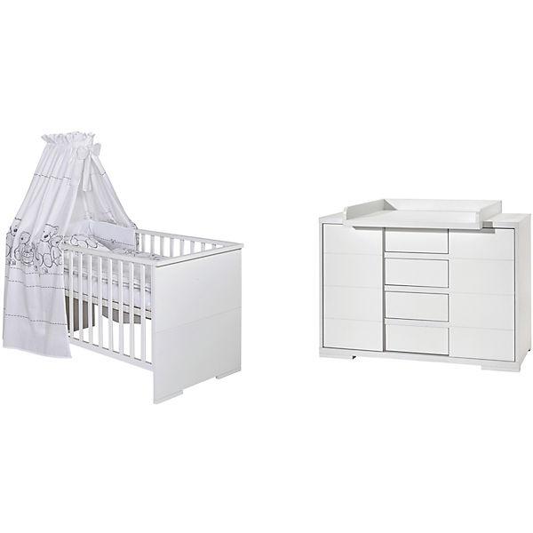 Sparset Maxx White Kombi Kinderbett 140 x 70 cm Umbauseiten und