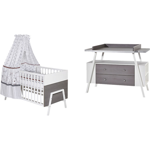 sparset holly grey kombi kinderbett 70 x 140 cm. Black Bedroom Furniture Sets. Home Design Ideas