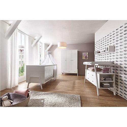 Groß Gaglow Angebote Schardt Komplett Kinderzimmer Holly White (Kombi-Kinderbett 70 x 140 cm, Umbauseiten, Wickelkommode und Kleiderschrank 3-trg.), Dekor/Massivholz weiß