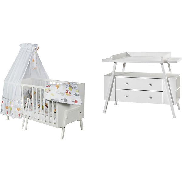 sparset holly white kombi kinderbett 70 x 140 cm umbauseiten und wickelkommode dekor. Black Bedroom Furniture Sets. Home Design Ideas