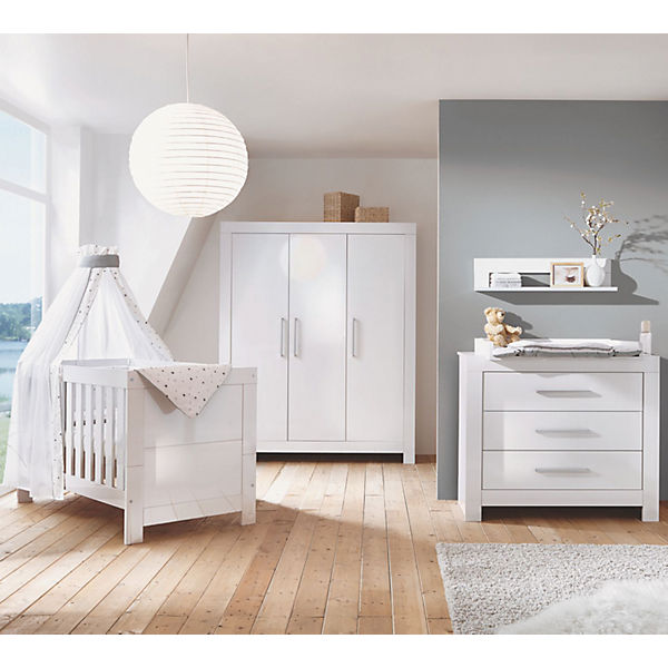 komplett kinderzimmer nordic hochglanz wei kombi kinderbett umbauseiten wickelkommode und. Black Bedroom Furniture Sets. Home Design Ideas