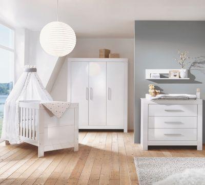 Komplett Kinderzimmer Nordic Hochglanz weiß (Kombi-Kinderbett ... | {Kinderzimmer weiß 1}