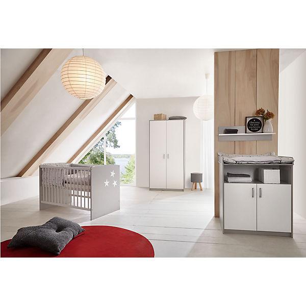 Komplett Kinderzimmer Classic Grey Kinderbett 60x120 Wickelkommode Und Kleiderschrank 2 Trg Nachbildung Grau Weiss Schardt