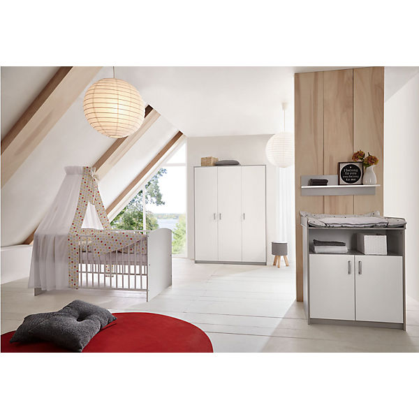 sparset classic grey kombi kinderbett 70x140 cm mit umbaukit und wickelkommode dekor grau. Black Bedroom Furniture Sets. Home Design Ideas