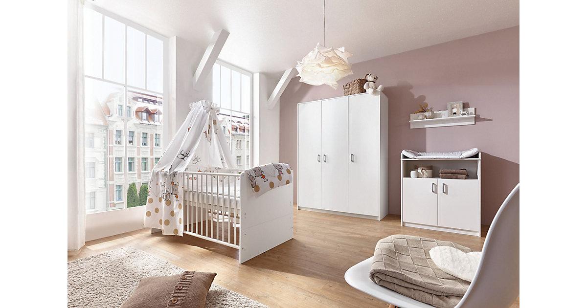 Komplett Kinderzimmer Classic White (Kombi-Kinderbett 70 x 140 cm mit Umbaukit, Wickelkommode und Kleiderschrank 3-trg.), Nachbildung weiß   Kinderzimmer > Komplett-Kinderzimmer   Schardt