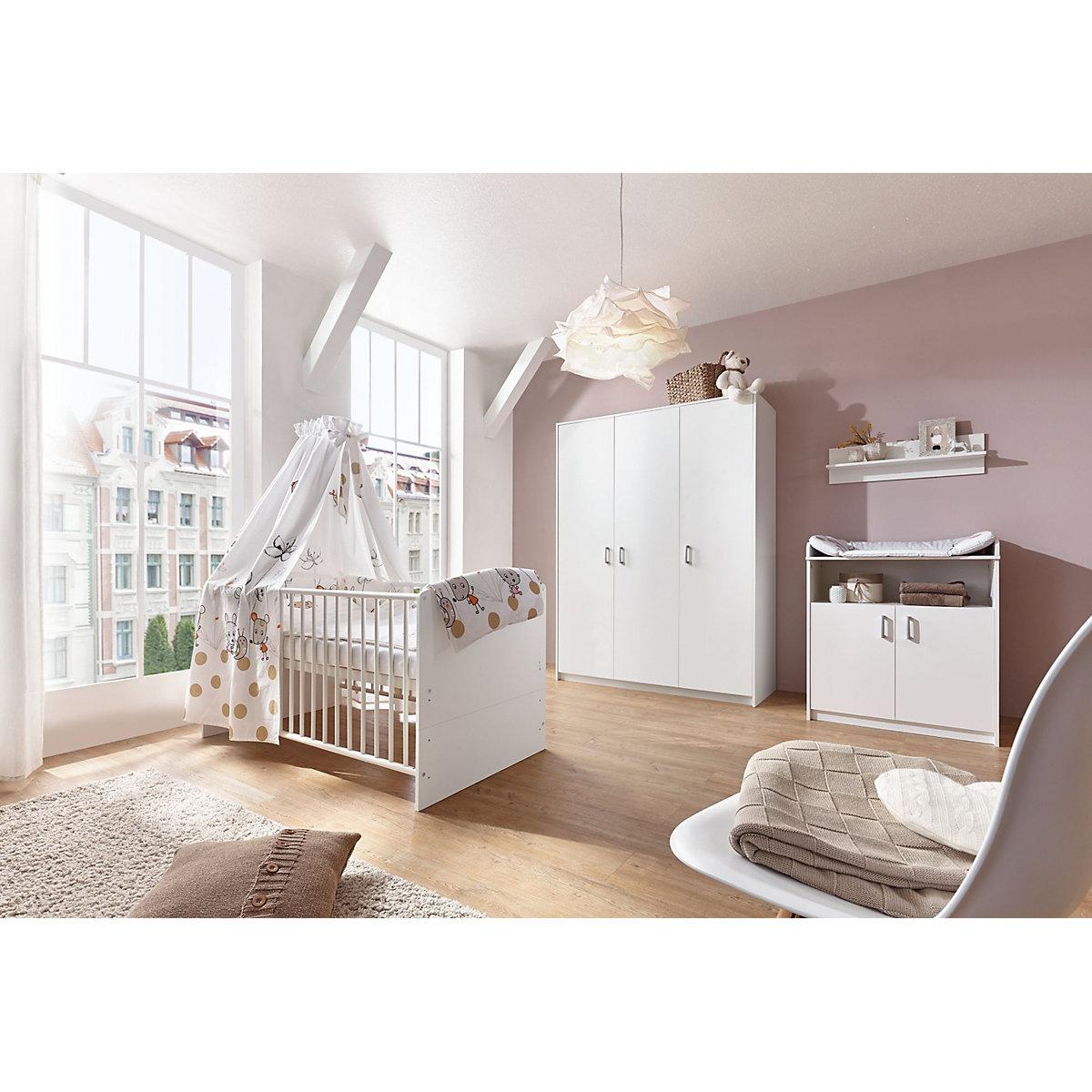 komplett kinderzimmer classic white kombi kinderbett 70 x 140 cm mit umbaukit wickelkommode. Black Bedroom Furniture Sets. Home Design Ideas