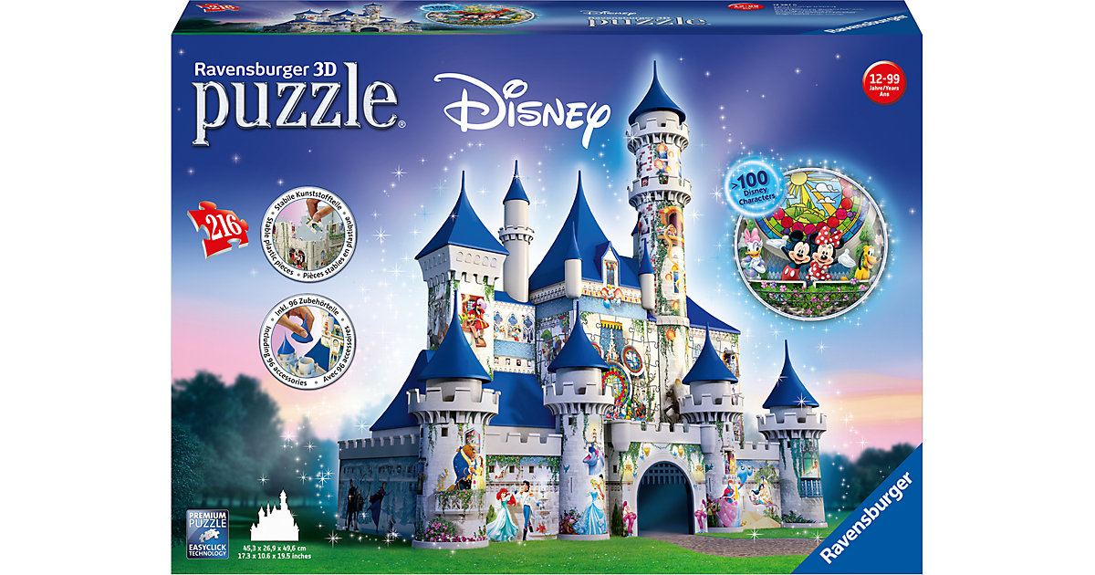3D Puzzle-Bauwerke 216 Teile Disney Schloss