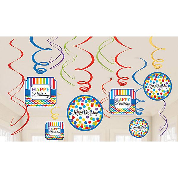 Dekospiralenset Bright Birthday, 12-tlg., Amscan