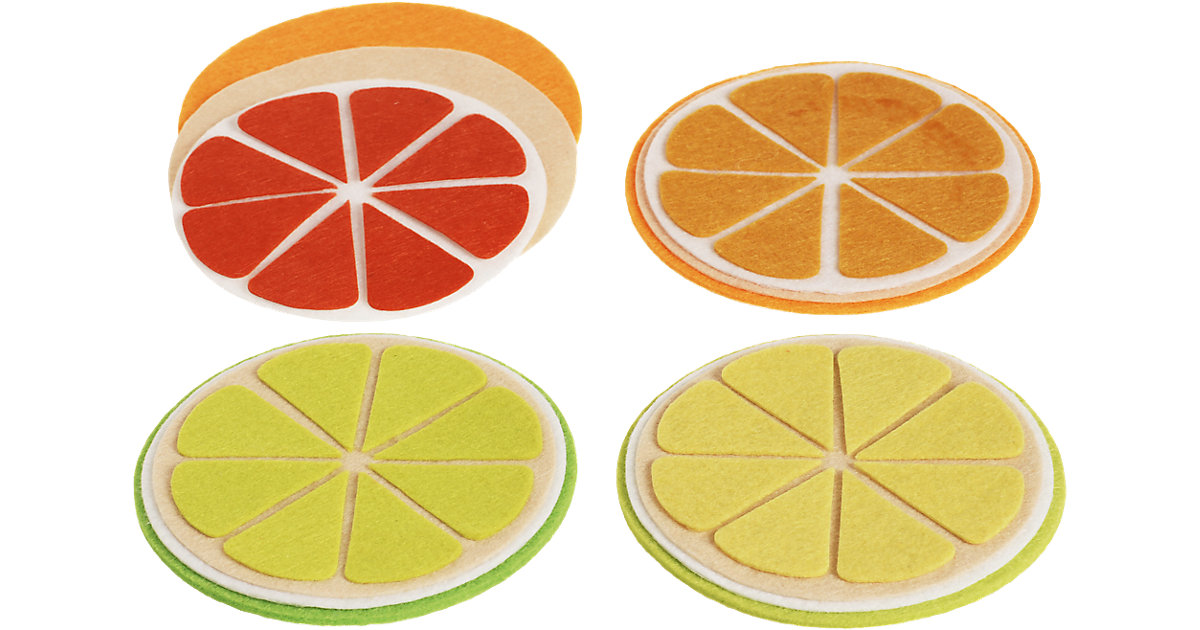 Filz-Kreativset Untersetzer Zitrusfrüchte, 4 Stück