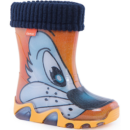 """Резиновые сапоги со съемным носком Demar Stormer Lux Print """"Котик"""" - оранжевый от Demar"""