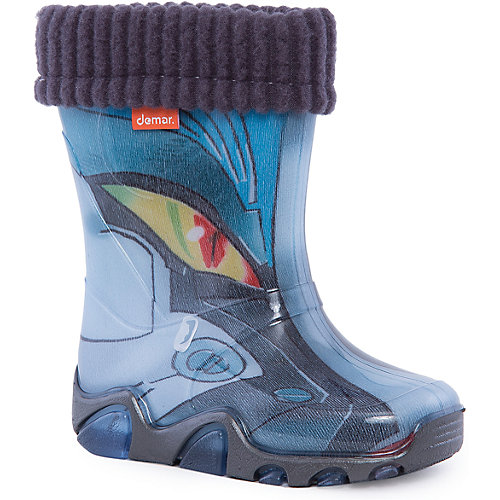 """Резиновые сапоги со съемным носком Demar Lux Print """"Трансформер"""" - серый от Demar"""