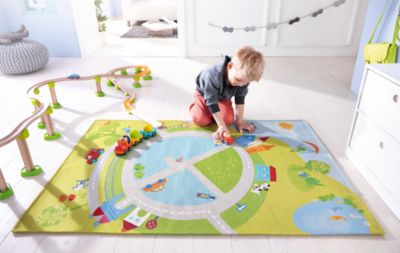 Kinderteppich grün haba  HABA 2973 Kinderteppich Blumenplanet, 150 x 150 cm, grün/blau ...