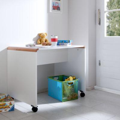 Schreibtisch SAM, Buche massiv, weiß / braun