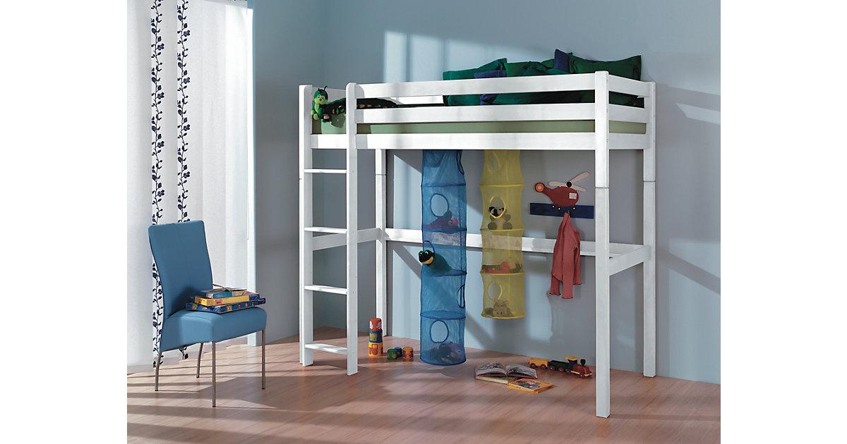 Hochbett TOLI 90 x 200 inkl. Rollrost, Buche massiv, weiß lackiert | Kinderzimmer > Kinderbetten > Hochbetten | Relita