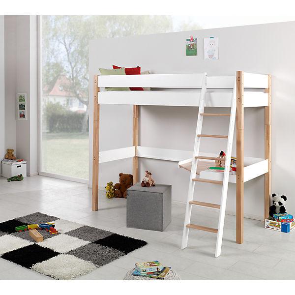 hochbett renate 90x200 inkl rollrost buche geleimt wei braun relita mytoys. Black Bedroom Furniture Sets. Home Design Ideas
