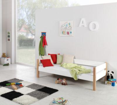... Hochbett RENATE 90x200 Inkl. Rollrost, Buche Geleimt, Weiß / Braun 2