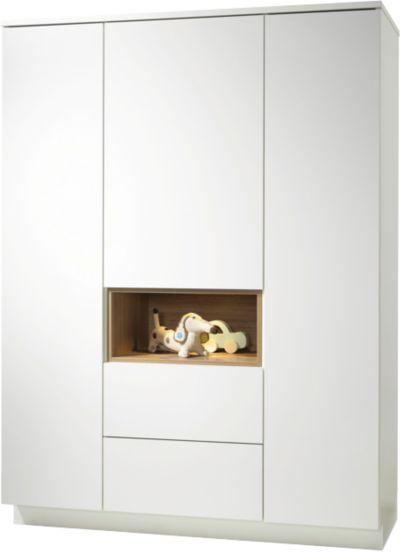 Kleiderschrank weiß hochglanz 3 türig  Kleiderschrank Genova, 3-türig, Hochglanz Weiß/Pinie, Roba | myToys