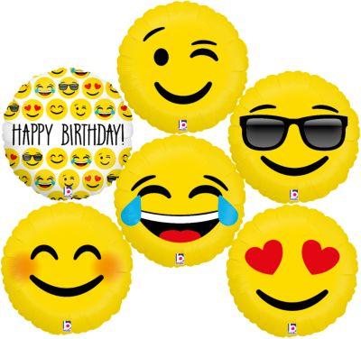 Folienballon-Set Emojis 46 cm, 6 Stück