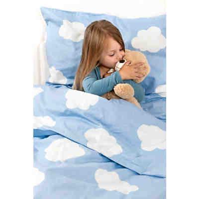 Kinderbettwäsche Wolken Cretonne Blau 100 X 135 Cm Powerkids