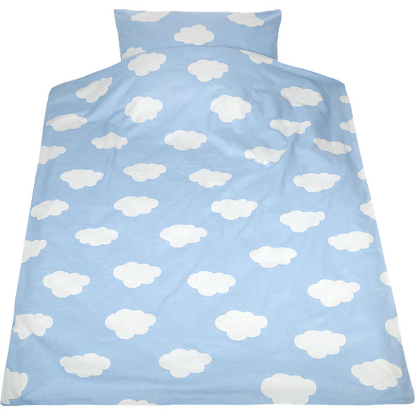 kinderbettw sche wolken cretonne blau 100 x 135 cm mytoys. Black Bedroom Furniture Sets. Home Design Ideas