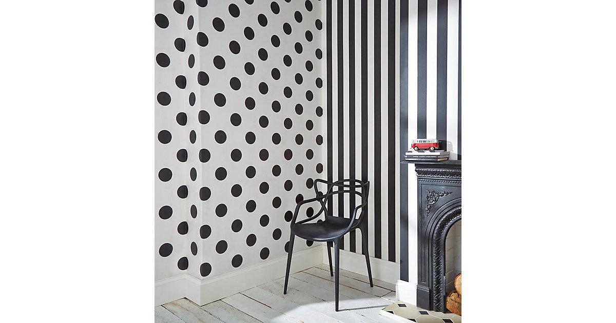 Tapete Punkte schwarz/weiß, 10 m x 53 cm