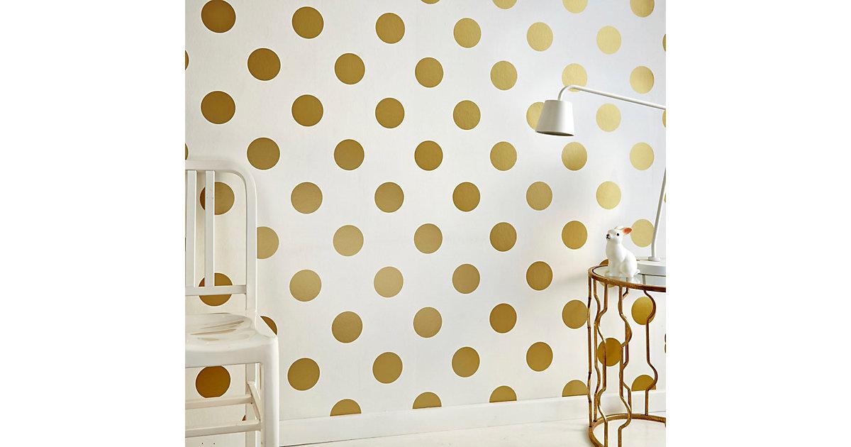 tapete punkte goldfarbig 10 m x 53 cm. Black Bedroom Furniture Sets. Home Design Ideas