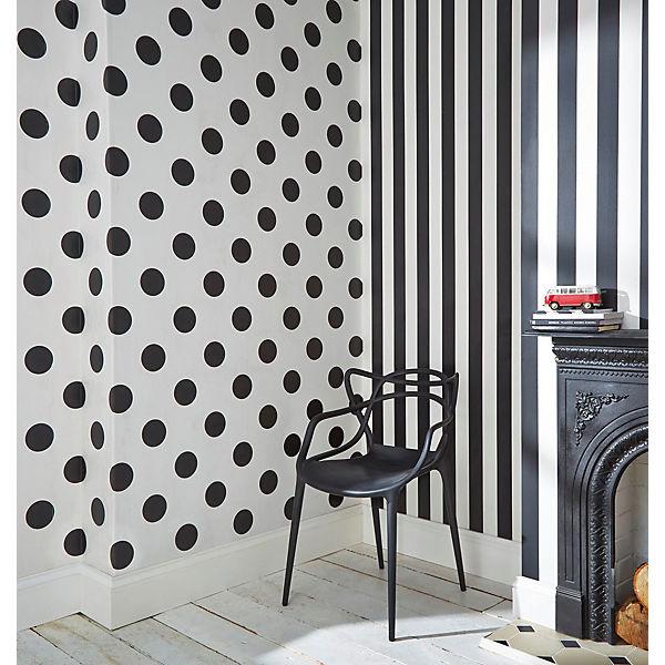 Tapete Streifen Schwarz/weiß, 10 M X 53 Cm