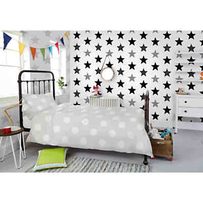 tapete punkte schwarz wei 10 m x 53 cm decofun mytoys. Black Bedroom Furniture Sets. Home Design Ideas