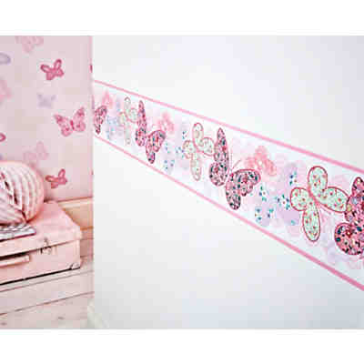 Bord re schmetterlinge 15 6 cm x 5 m decofun mytoys for Vliestapete babyzimmer