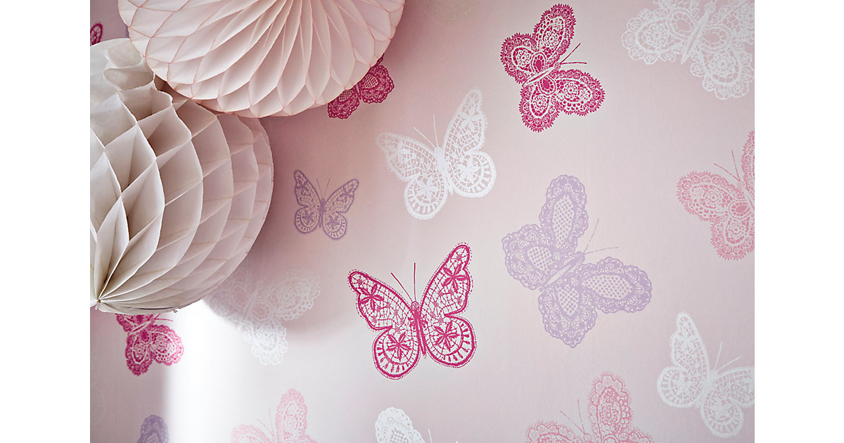 Tapete Schmetterlinge, 10 m x 53 cm rosa