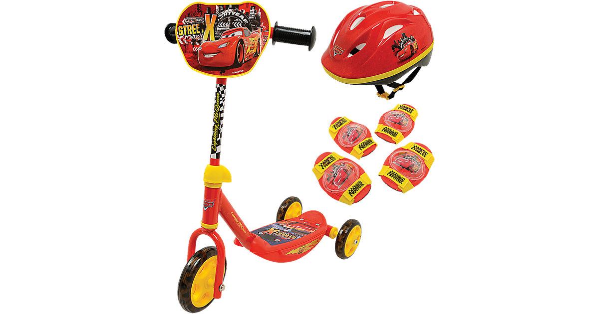 Cars Roller mit Helm, Ellenbogen- und Knieschüt...