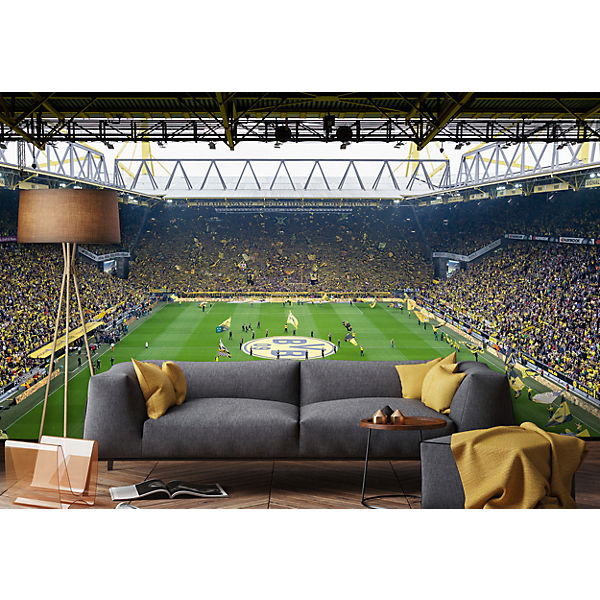 fototapete bvb fan choreo 350 x 250 cm fu ballverein borussia dortmund mytoys. Black Bedroom Furniture Sets. Home Design Ideas