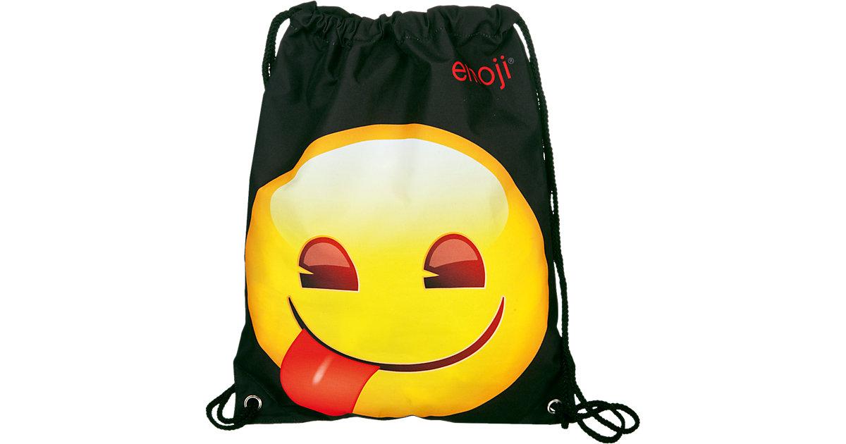 Sportbeutel Smiley Emoji schwarz/gelb
