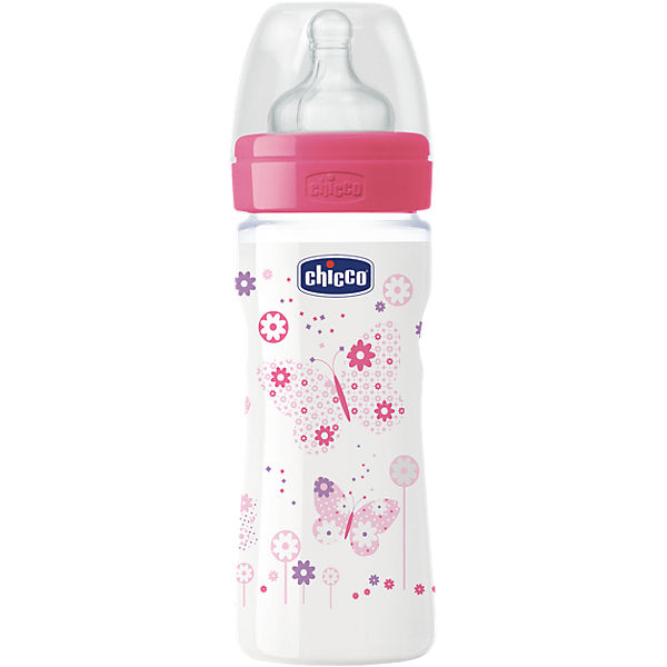 Weithals Flasche Well-Being, PP, 250 ml, Silikonsauger, Gr. 2, girl