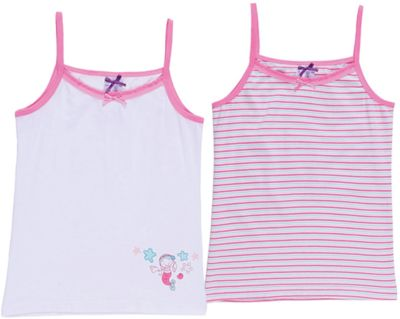Майка (2 шт.) для девочки Sweet Berry - розовый/белый