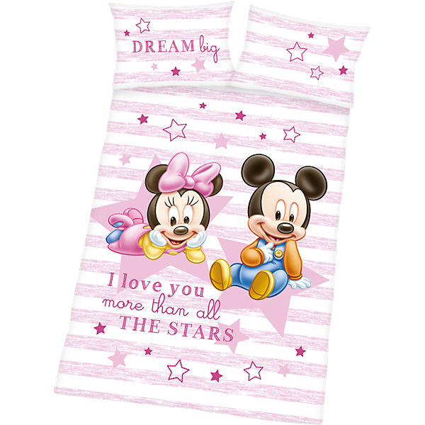Kinderbettwäsche Disney Mickey & Minnie Baby, Renforcé, rosa, 100 x ...