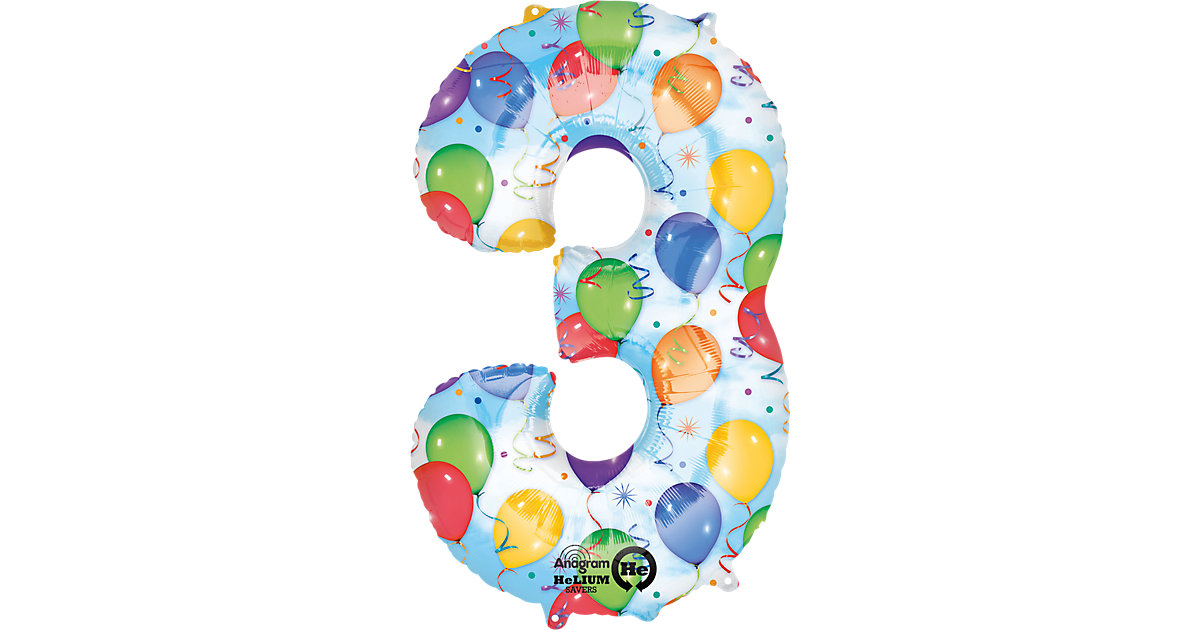 Folienballon Zahl 3