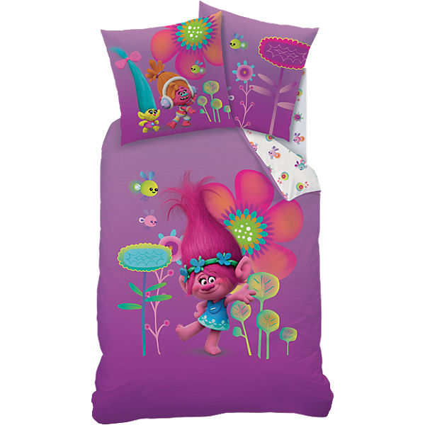 wende kinderbettw sche trolls poppy linon 135 x 200 cm trolls mytoys. Black Bedroom Furniture Sets. Home Design Ideas