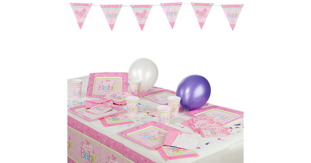 Partyset Welcome Little One Girl, 53-tlg.