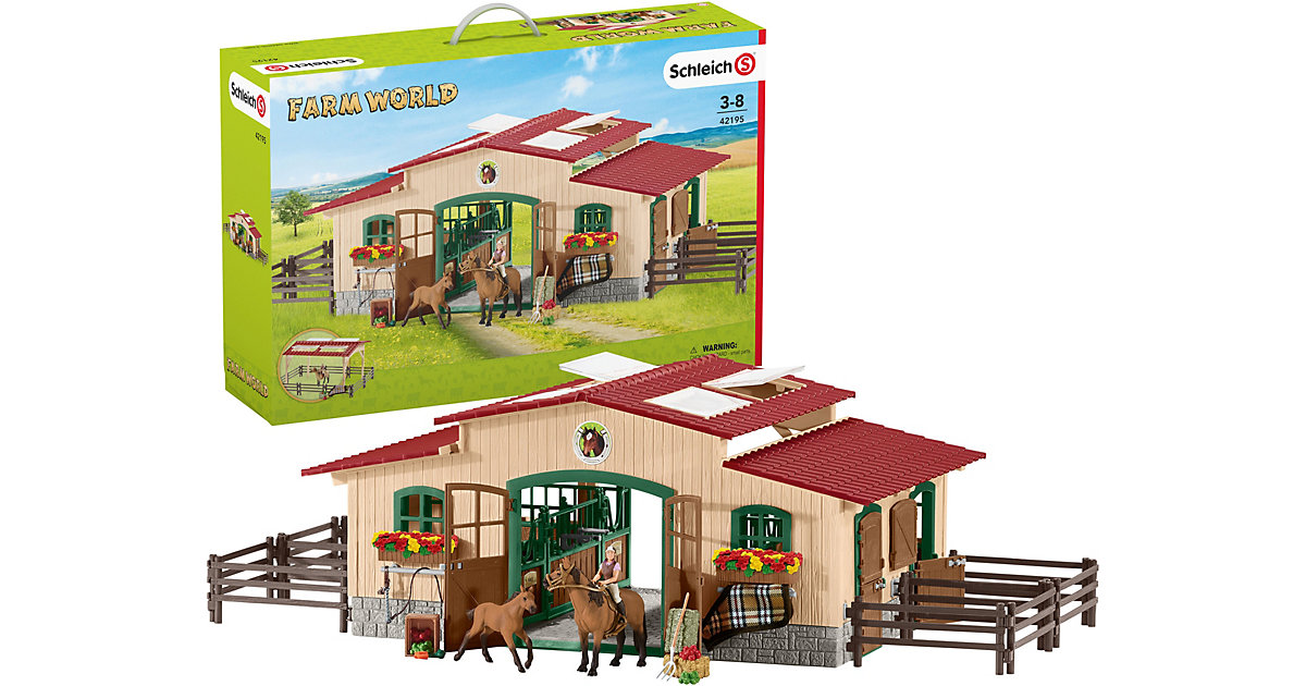 schleich pferdestall mit pferden und zubeh r. Black Bedroom Furniture Sets. Home Design Ideas