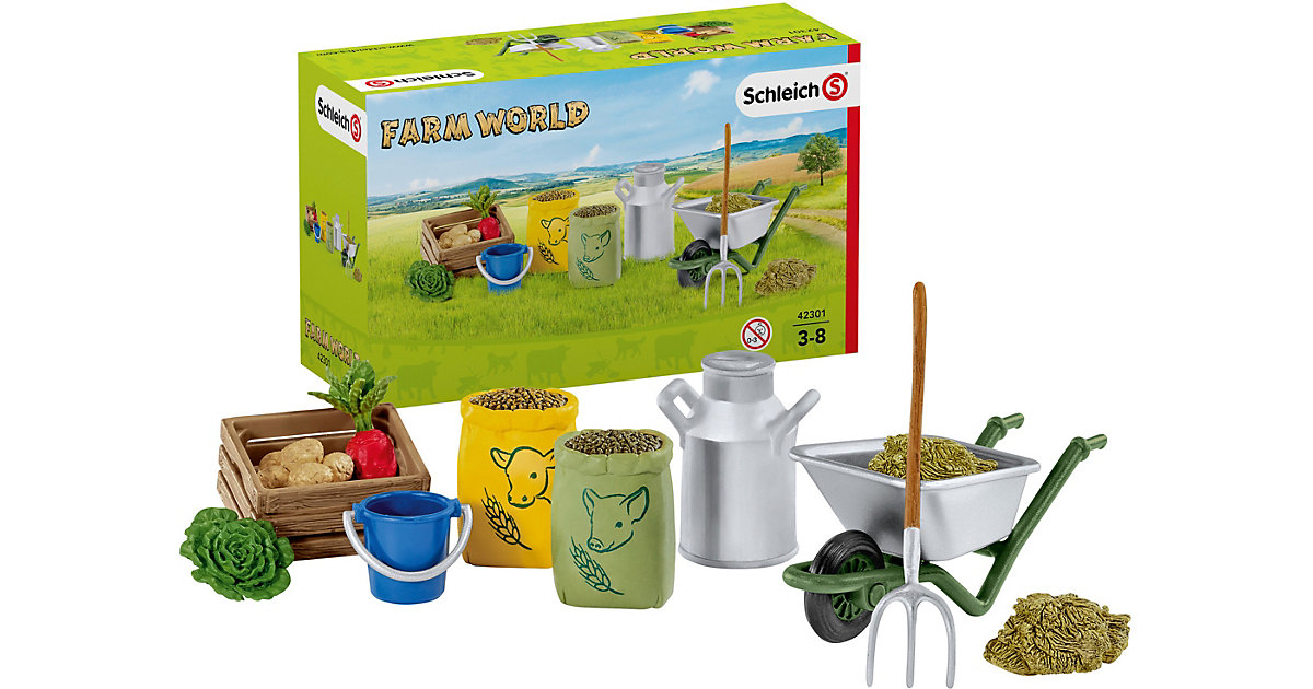 Schleich 42301 Farm World: Fütterung der Bauernhoftiere