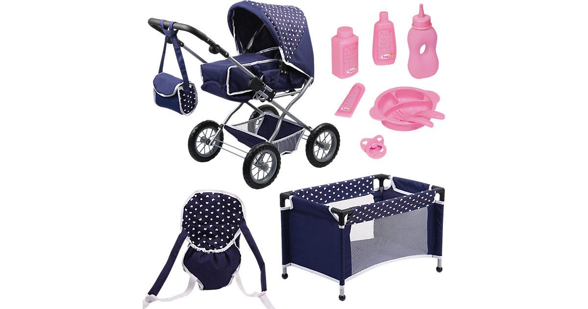 Kombi-Puppenwagen und Komplett-Set blau die Babypuppe Kleinkinder